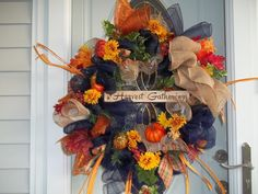 Fall~ Door~Wreath~ Burlap Bow~Mesh~Harvest Gatherings Sign~Leaves~Gourds~