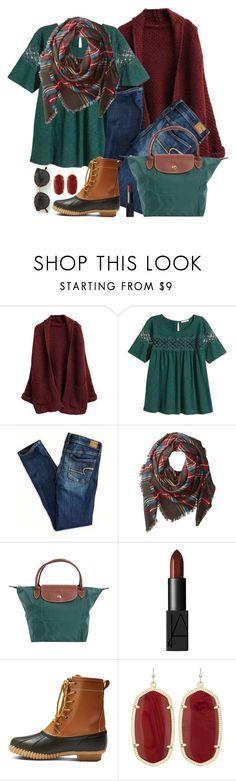 """{ feeling festive }"" by callingmybluff ❤ liked on Polyvore featuring H&M, American Eagle Outfitters, Buji Baja, Longchamp, NARS Cosmetics, Merona, Kendra Scott and RetroSuperFuture"