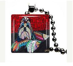 Shih Tzu Glass Pendant Charm Necklace Dog Tag by HeatherGallerArt, $28.00
