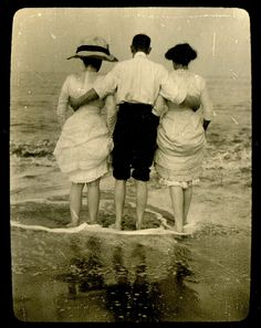 Water's edge... vintage photograph. Lucky fellow!!