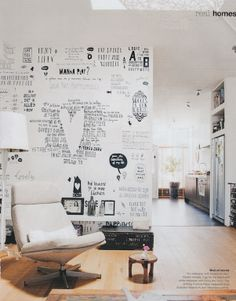 How awesome is this wallpaper?! ...& WOULD LOOK AMAZING WITH A CHALKBOARD ACCENT WALL!