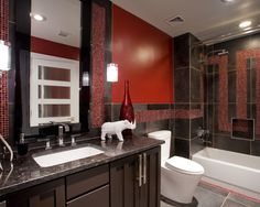Bathroom Red And Brown Design Charcoal Contemporary Bathrooms Modern Italian