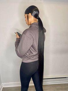 Hair Ponytail Styles, Weave Ponytail Hairstyles, Ponytail Bun, Ethnic Hairstyles, Sleek Ponytail, Baddie Hairstyles, Hair Styles, Natural Straight Hair, Natural Hair