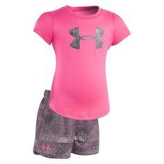 Toddler Girl Under Armour My City Grid Big Logo Tee & Shorts Set, Med Pink