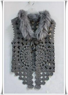 """Crochet Vest - Detailed graphs and layout. Very very cool. Has circular motif on the back also. In the original, the second row of the circle pattern connected """"popcorn"""": Crochet Bolero, Pull Crochet, Gilet Crochet, Mode Crochet, Crochet Motifs, Crochet Jacket, Crochet Cardigan, Crochet Stitches, Diy Crochet Vest"""