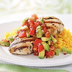 Cilantro-Lime Chicken with Avocado Salsa. perhaps for dinner!