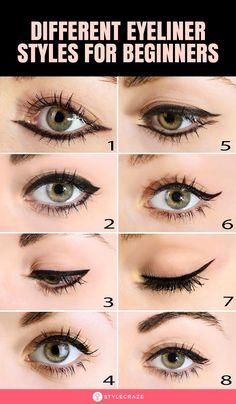 Eyeliner Hacks, How To Apply Eyeliner, No Eyeliner Makeup, Skin Makeup, Step By Step Eyeliner, Eyeliner Waterline, White Eyeliner, Eyeliner Pencil, Basic Makeup For Beginners