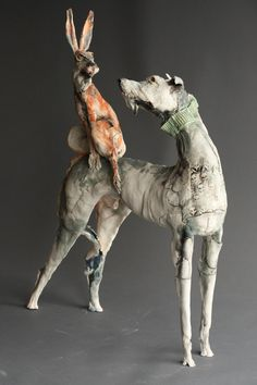 "Saatchi Online Artist: Gaynor Ostinelli; Ceramic, 2012, Sculpture ""Hare of The Dog"""