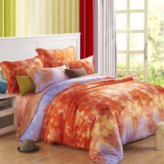 Orange Yellow and Purple Autumn Scene Maple Leaf Jungle Retro Luxurious Nature Durable 100% Tencel Full, Queen Size Bedding Sets
