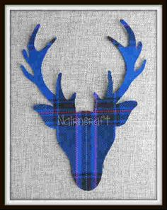 1x 8in Scottish Stag Head, Blue Tartan,Wool Fabric,Cut Out,Iron On,Applique 3 by Nairncraft on Etsy