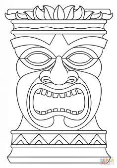 Hawaiian Tiki Masks Coloring Pages