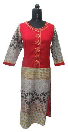 Indian ethnic kurti embroidered tunic women kurta S top printed blouse dress #nisha #indiankurti