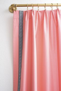 Use curtain rings to give your store bought/inexpensive curtains a luxe, custom made look. These coral and black and white Greek key… Coral Curtains, Velvet Curtains, Hanging Curtains, Drapes Curtains, Bathroom Curtains, Blackout Curtains, Drapery, Curtain Rings With Clips, Curtain Clips
