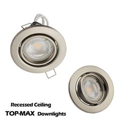 TOP-MAX Recessed Spotlight Ceiling Lighting Downlight LED GU10 Fitting Mains Voltage Brushed Chrome Finish Tiltable Version IP20 Protection for Living room Bedroom Kitchen etc (LED Bulb Not Included): Amazon.co.uk: Lighting