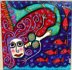 Tracey Ann Finley Original Outsider Raw Brut Folk Naive Painting Mermaid & Fish #OutsiderArt