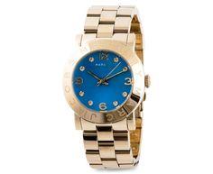 Sweet blue --> New Marc Jacobs Women Watch Bracelet Gold Amy Swarovski Blue Dial w/Box MBM3303 #MarcJacobs #Dress $149.77