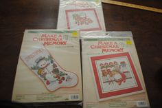 3 WEE WINSOMES  Cross Stitch kits Snowman Christmas Stocking DMC 1985 #HugsnStitches