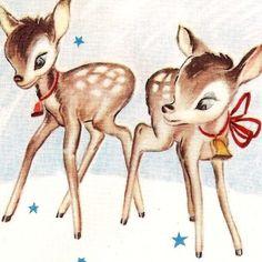 vintage deer christmas