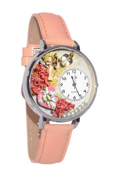 Valentine's Day Pink Pink Leather And Silvertone Watch