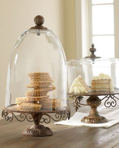 Rustic+Cake+Stands+&+Domes+at+Horchow. - Decoration for House Cake Stand With Dome, Cake Dome, Cupcake Stands, Rustic Cake Stands, Cake Pedestal, The Bell Jar, Bell Jars, Tuscan Style, Apothecary Jars