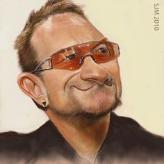 Struggled with the colouring on this one but i think i always do and will. Maybe i just don't get the time to overkill my caricatures anymore? Maybe a good thing. Funny Caricatures, Celebrity Caricatures, Celebrity Drawings, Cartoon Faces, Funny Faces, Famous Celebrities, Celebs, Bono U2, Black And White Cartoon