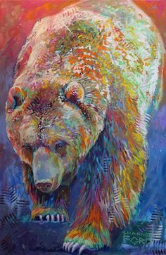 """'Grizzly Bear Boogie'  48"""" x 30"""" Acrylic on Canvas with turquoise, sugalite, 24k gold and diamond dust   Artist Shannon Ford"""