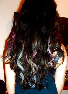 hair chalking.  grab a section of hair, wet a piece of chalk, rub on hair, set with some sort of heat (curling iron, straightener, etc.)    Its safe for your hair and washes straight out!      <3