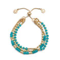 Athena 'Delia' Three Strand Slide Clasp Bracelet in Iolite and Silver