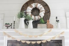 The 24 Best Mantel Ideas - How to Decorate a Fireplace Mantel | Apartment Therapy Decorating Your Home, Interior Decorating, Decorating Ideas, Interior Design, Gold Ornate Mirror, Large Woven Basket, Silk Flower Wreaths, Wooden Corbels, Fireplace Mantels