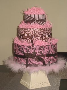 Diaper Cake that I created for my daughter's Baby Shower