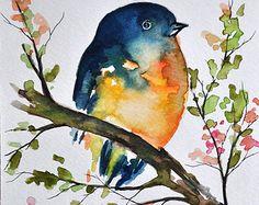 ORIGINELE aquarel vogel schilderen Pastel van ArtCornerShop op Etsy