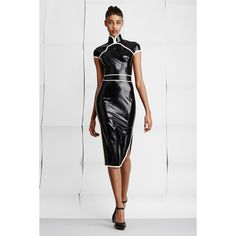 Atsuko Kudo OC-Exclusive Chinese Latex Dress featuring polyvore, fashion, clothing, dresses, mid length dresses, striped dress, cap sleeve party dress, bustier dress and mandarin collar dress