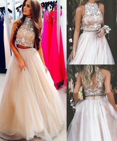 Two Pieces Prom Dresses, Prom Dress with Beading,O-Neck Prom Dresses,Real Made Prom Gowns,Fashion Prom Dresses,SIM627