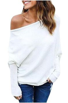 Kumer Women s Off Shoulder Sweater Batwing Sleeve Loose Pullover Solid  Sweater Knit Jumper Tops Women s Sweaters 5df37eff1