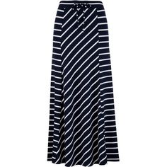 Stripe Knit Maxi Skirt ($32) ❤ liked on Polyvore featuring skirts, stripe, maxi, blue striped maxi skirt, long blue skirt, stripe maxi skirt, blue maxi skirt and long skirts