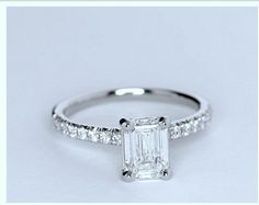 Emerald cut Diamond Engagement ring Wedding Ring set Emerald cut Diamond certified by GIA excellent brilliance GIA Big Wedding Rings, Wedding Rings Solitaire, Engagement Wedding Ring Sets, Wedding Jewelry, Dream Wedding, Bridal Rings, Wedding Bands, Blue Wedding, Wedding Things