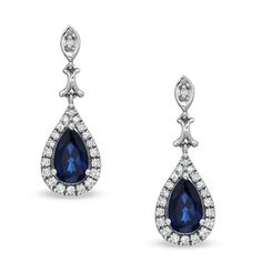 Pear-Shaped Lab-Created Blue and White Sapphire Drop Earrings