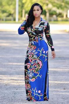 Gorgeous, super stretchy, maxi dress in a relaxed style with high waist tie, and side slit. You'll love Ava! (Royal blue/black). Alsoavailable in Tangerine/Navy. 94%Polyester, 6% Spandex Model wearing size small. (Amazing Stretch)Size chart• 4-6 Small• 6-8 Medium• 10-12 Large **FREE STANDARD SHIPPING ON ALL U.S. ORDERS $100 OR MORE.