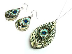 Paper Anniversary Gift  Peacock Paper Jewelry Set  Unique First Anniversary Gift for Her ** Be sure to check out this awesome product.