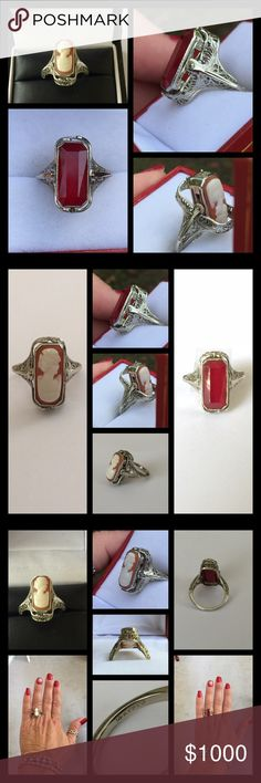 14k White Gold Art Deco Filigree Ruby/Cameo Ring ❤This ring flips! It is so unique and cool! It is genuine 14k white gold and genuine coral/ivory cameo and Red Ruby. Wear it both ways and whatever suits your mood and attire. It is hallmarked 14k PATD❤️ Vintage Jewelry Rings