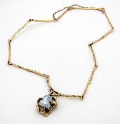 Brutalist Yellow Gold Cast Link Necklace w/ Large Blue Baroque Pearl! Arrow Necklace, Pendant Necklace, Brutalist, Baroque Pearls, Yellow, Blue, Link, Gold, Jewelry