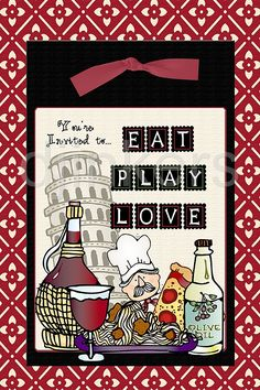Eat, Play Love invitation made by Dianne.  Clipart for world studies, travel, culture & diversity by DJ Inkers