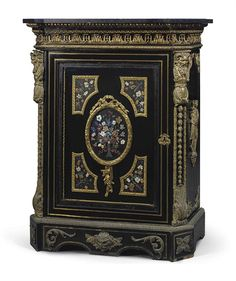 A NAPOLEON III ORMOLU AND PIETRE DURE-MOUNTED CUT BRASS-INLAID EBONY AND EBONIZED SIDE-CABINET THE PIETRE DURE POSSIBLY RUSSIAN, PETERHOF IMPERIAL LAPIDARY WORKS, MID-19TH CENTURY