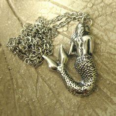 Mermaid Necklace - vintage silver. $12.99, via Etsy.