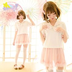 "Color:white shirt.light pink skirt. Size:S.M.L. Shirt size S: Length:48cm/18.72"".Bust:89cm/34.71"".Sleeve length:26cm/10.14"".Shoulder:37cm/14.43"". Shirt size M: Length:50cm/19.50"".Bust:95cm/37.05"".Slee"