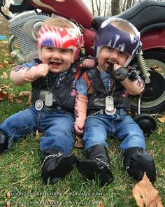 Turn the stress of Orthotic helmets into something fun. These amazingly detailed baby twins Halloween costumes transform the cutest boys into tough bikers. Best Toddler Halloween Costumes, Baby Halloween Costumes For Boys, Halloween Costume Contest, Toddler Costumes, Spooky Costumes, Halloween Parties, Adult Halloween, Halloween 2018, Scary Halloween