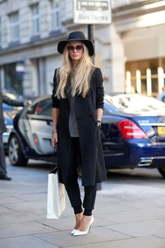 STREET STYLE SPRING 2013: LONDON FW - White pumps add a flash of brightness to somber shades.