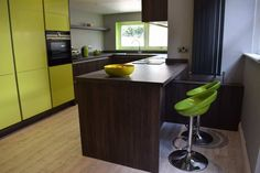 Colourful lime green kitchen design from Newcastle Kitchen and Bedroom Company. Lime Green Kitchen, Green Kitchen Designs, Kitchen Colors, Kitchen Ideas, Kitchen Showroom, Kitchens And Bedrooms, Beautiful Kitchens, Contemporary Design, Newcastle