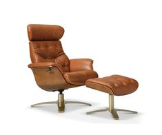 Brown Leather Recliner, Leather Recliner Chair, Recliner With Ottoman, Leather Chair With Ottoman, Modern Recliner Chairs, Recliners, Eames Style Lounge Chair, Mid Century Chair, Mid Century Modern Chairs
