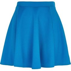 River Island Blue textured skater skirt (£8) ❤ liked on Polyvore featuring skirts, bottoms, sale, blue knee length skirt, elastic waist skirt, river island, circle skirt and skater skirt